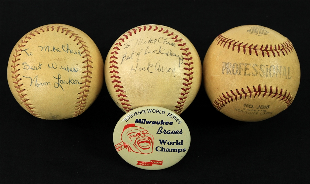 1957-63 Baseball Memorabilia Collection - Lot of 4 w/ Norm Larker Signed Baseball, 1957 Braves World Champs Pinback & More (JSA)