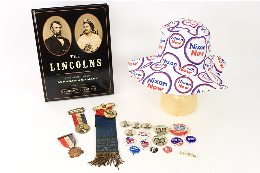 1890s-2000s Presidential Memorabilia Collection - Lot of 20 w/ Pinbacks, Ribbons, Nixon Now Floppy Hat & More