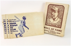 1974 Hank Aaron Atlanta Braves Memorabilia Collection - Lot of 4 w/ MIB Wall of Fame Plaque & (3) Magnavox 715 HR Membership Kits