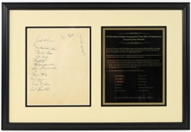 "1955 World Series Champion Brooklyn Dodgers Multi Signed 16.5"" x 24.5"" Framed Sheet w/ 13 Signatures Including Jackie Robinson, Roy Campanella, Duke Snider & More (JSA)"
