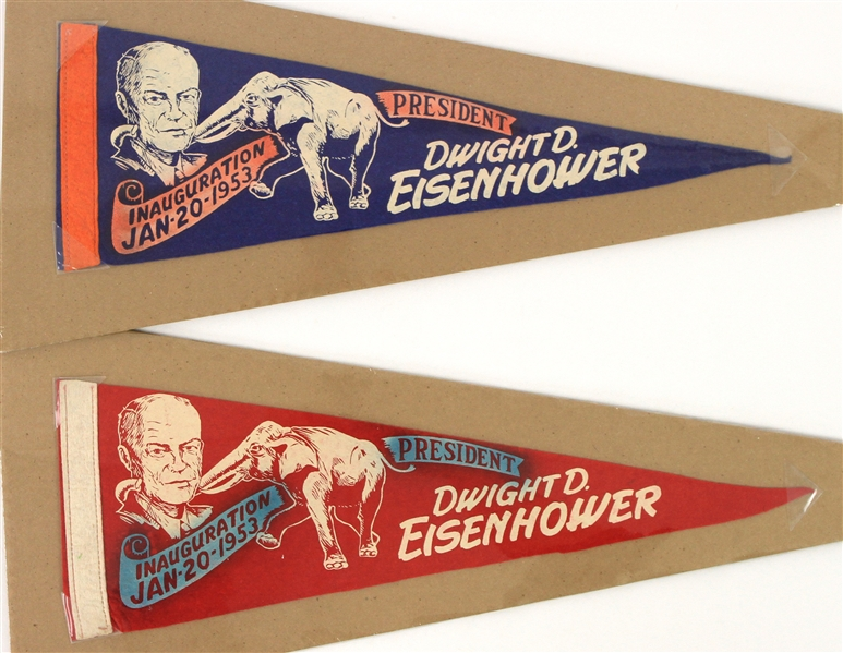 "1953 Dwight D. Eisenhower 34th President of the United States 17"" Inauguration Mini Pennants - Lot of 2"