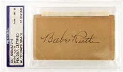 1920s Babe Ruth New York Yankees Signed Cut (PSA/DNA Slabbed NM-MT 8)