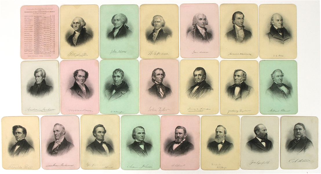 "1880s Presidents of the United States of America Ralph Trautmann 5"" x 7"" Fine Steel Plate Engravings - Set of 21 w/ George Washington, Thomas Jefferson, Abraham Lincoln & More"