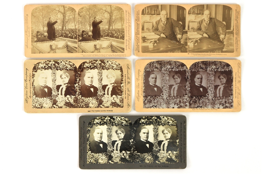"1897-1901 William McKinley 25th President of the United States 3.5"" x 7"" Keystone View Cards - Lot of 5"