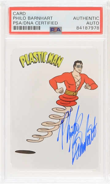 2019 Philo Barnhart Plastic Man Signed Animation Cell Trading Card (PSA Slabbed)