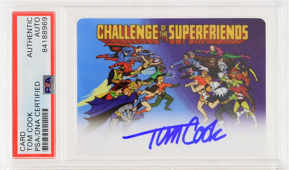 2019 Tom Cook Challenge of the Superfriends Signed Animation Cell Trading Card (PSA Slabbed)