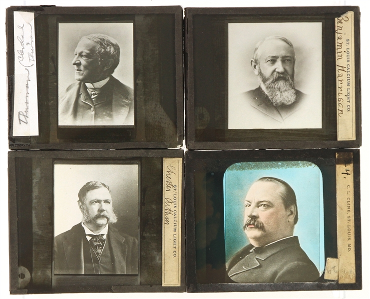 "1880s-90s Presidents of the United States 3.5"" x 4"" Glass Plate Negatives - Lot of 4 w/ Chester Arthur, Grover Cleveland, Benjamin Harrison & More"