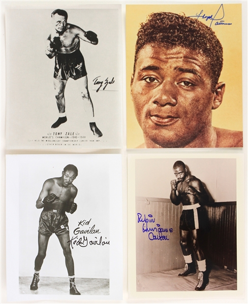 "1990s Floyd Patterson Tony Zale Hurricane Carter Kid Gavilan Signed 8"" x 10"" Photos - Lot of 4 (MEARS LOA)"