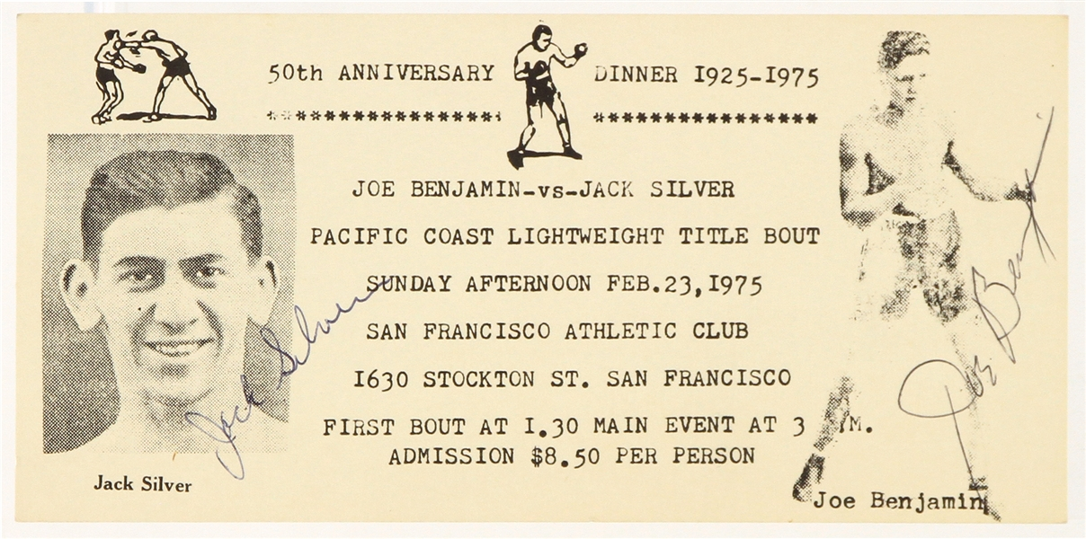 1975 Jack Silver Joe Benjamin Signed Pacific Coast Lightweight Title Bout 50th Anniversary Card (MEARS LOA)