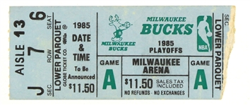 1985 (April 19) Michael Jordan Chicago Bulls First Ever Playoff Game Ticket Stub