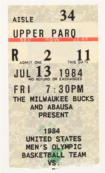 1984 (July 13) Michael Jordan USA Olympic Team vs NBA All Stars MECCA Arena Ticket Stub