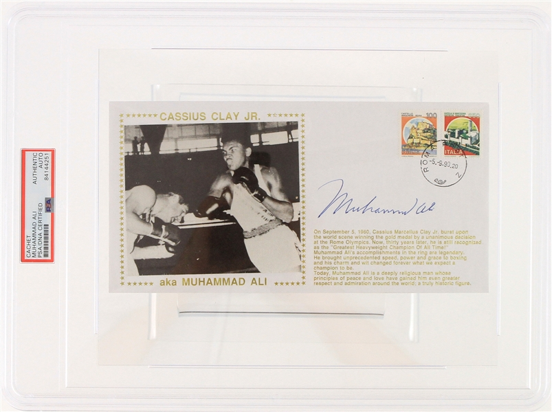 1990 Muhammad Ali World Heavyweight Champion Signed First Day Envelope (PSA Slabbed)