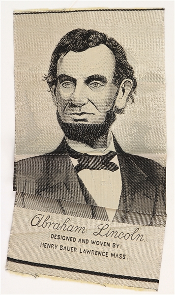 "1940 Abraham Lincoln 16th President of the United States 8"" x 15.5"" Henry Bauer Woven Tapestry"