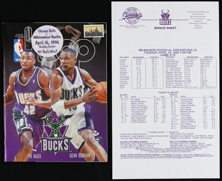 1996 Chicago Bulls vs. Milwaukee Bucks NBA Program Magazine 70th Bulls Win of the Season & Bonus Sheet