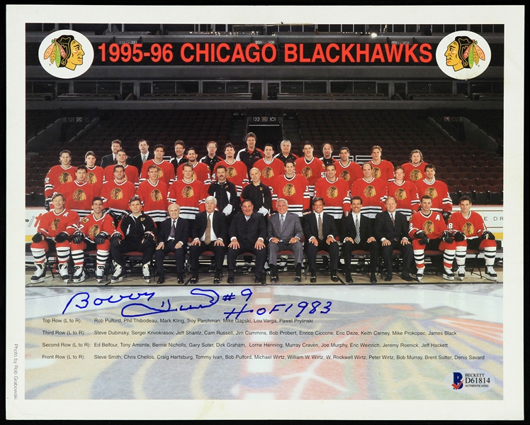 "1995-96 Bobby Hull Chicago Blackhawks Signed 8"" x 10"" Team Photo (Beckett Authentication)"