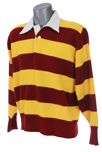1990s Maroon Yellow Collared Sweater