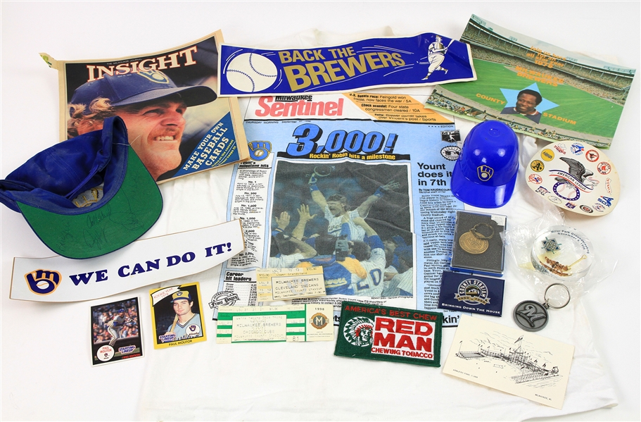 1970s-2000s Milwaukee Brewers Memorabilia Collection - Lot of 18 w/ Bumper Stickers, Key Chains, Signed Cap & More