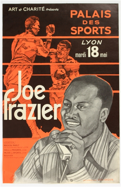 "1970s Joe Frazier World Heavyweight Champion 15"" x 23.5"" Palais Des Sports French Language Poster"
