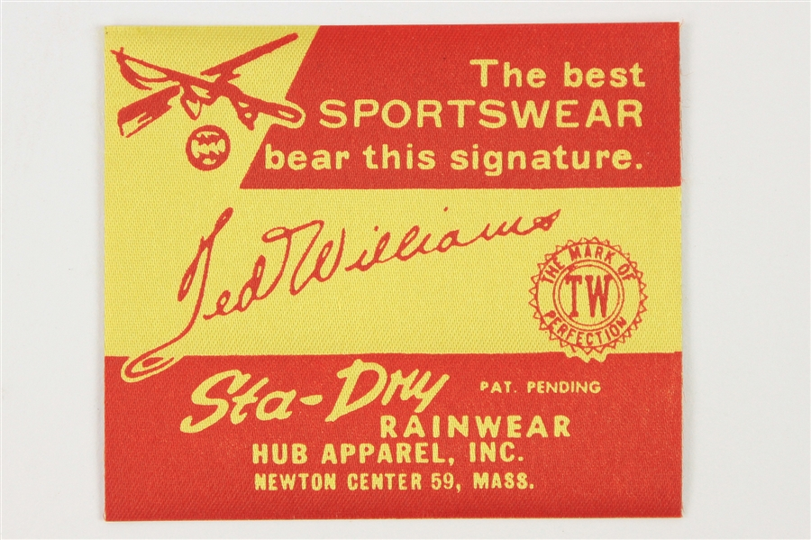 1960s Ted Williams Boston Red Sox StaDry Rainwear Apparel Tag