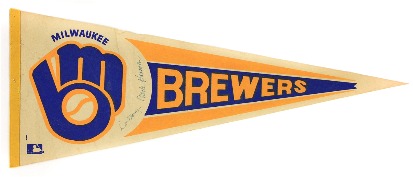 "1978-83 Don Money Merle Harmon Milwaukee Brewers Signed Full Size 30"" Pennant (JSA)"