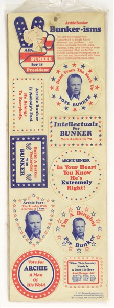 "1972 Archie Bunker ""Bunker-isms"" 6"" x 18"" Decal Sheet w/ 10 Decals & Original Product Bag"