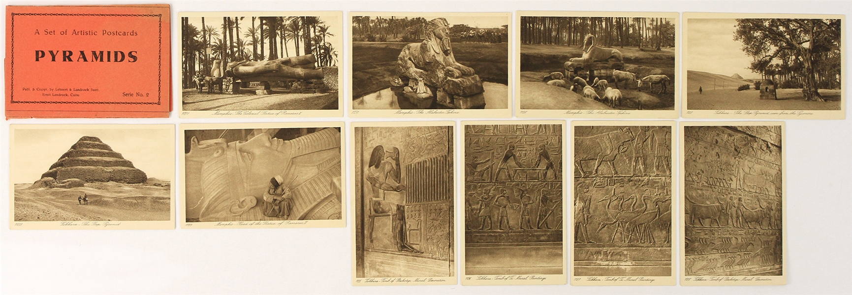 "1920s Lehnert & Landrock Artistic Egyptian Pyramid 3.5"" x 5.5"" Postcards - Lot of 10 w/ Original Cover"