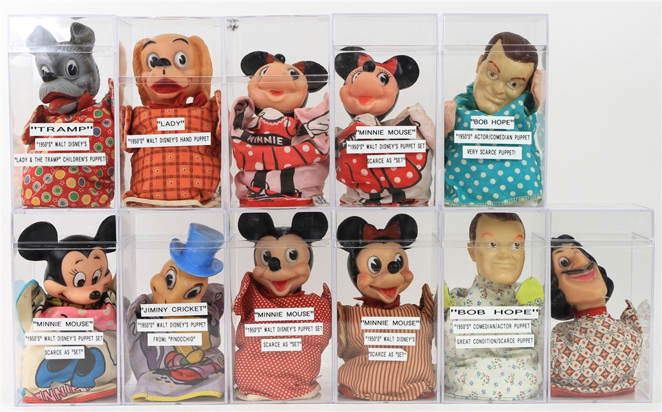 1970s Hand Puppet Collection - Lot of 25+ w/ Mickey Mouse, Minnie Mouse, Bob Hope, Howdy Doody, Gumby & More