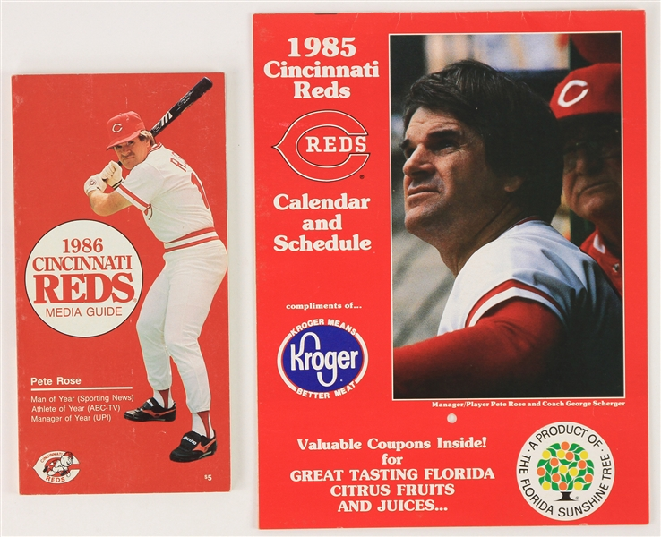 1985-86 Cincinnati Reds Media Guide & Calendar Schedule - Lot of 2