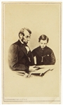 "1861-65 Abraham Lincoln 16th President of the United States 2.5"" x 4"" Fredericks & Co. NY CDV Photo Card w/ Son Tad"