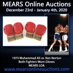 1973 Muhammad Ali vs  Ken Norton Heavyweight Championship Both Fighters Ring Worn Sparring Gloves (MEARS LOA)