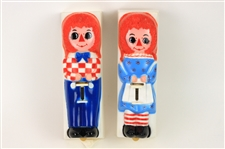 1970s Raggedy Ann & Andy Toothpaste Dispensers - Lot of 2