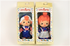 1990 Raggedy Ann & Andy MIB Little Raggedys Plush Figures - Lot of 2