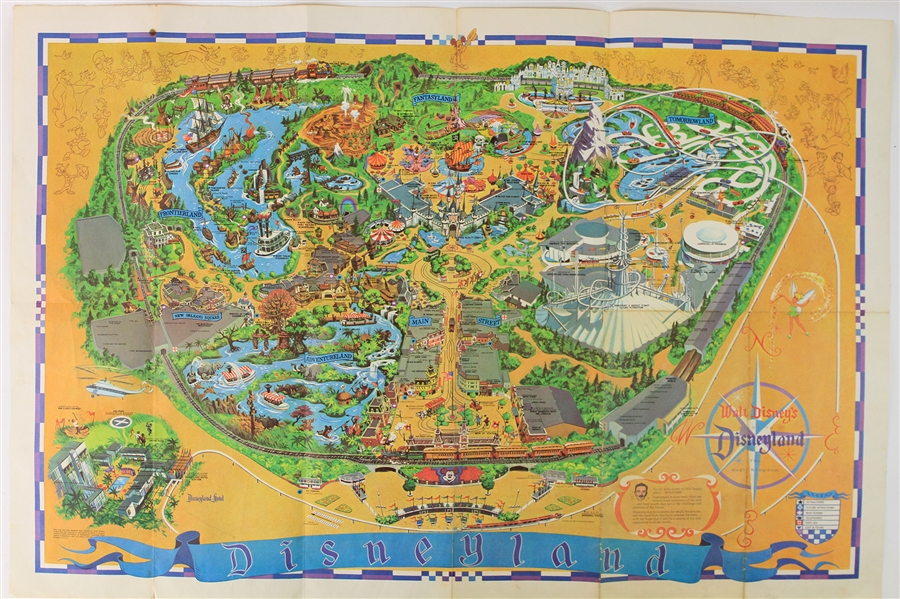 1955-68 Disneyland Memorabilia Collection - Lot of 4 w/ Disneyland Map Poster, Mickey Mouse Club Puzzle, Story & Coloring Books