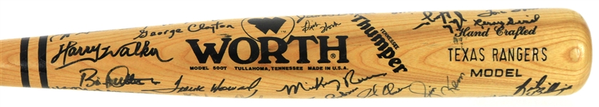 1988-89 Texas Rangers Multi Signed Worth Bat w/ 35+ Signatures Including Ferguson Jenkins, Frank Howard, Mickey Rivers & More (JSA)