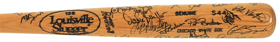 1996 Pat Borders Chicago White Sox Team Signed Louisville Slugger Professional Model Bat w/ 25+ Signatures Including Frank Thomas, Harold Baines, Ozzie Guillen & More (MEARS LOA/JSA)