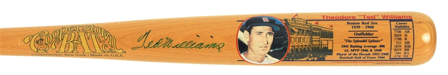 1988 Ted Williams Boston Red Sox Signed Cooperstown Famous Players Series Bat (JSA)