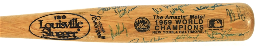 1969 New York Mets World Series Champions Team Signed Louisville Slugger w/ 17 Signatures Including Tom Seaver, Nolan Ryan, Tommie Agee  & More (JSA)