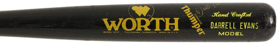 1988-89 Darrell Evans Tigers/Braves Signed Worth Professional Model Bat (MEARS LOA/JSA)