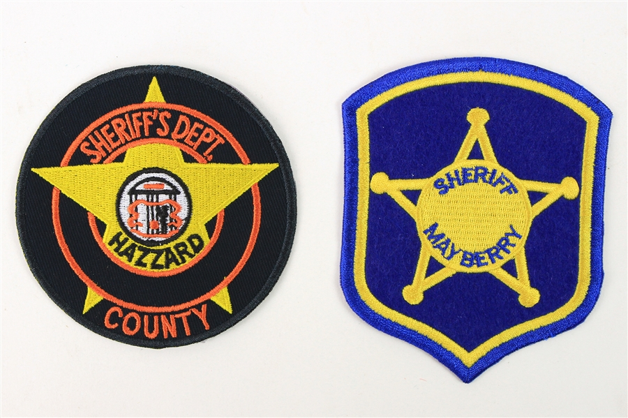 1970s Andy Griffith Show Dukes of Hazzard Mayberry County & Hazzard County Sherriff Patches - Lot of 2