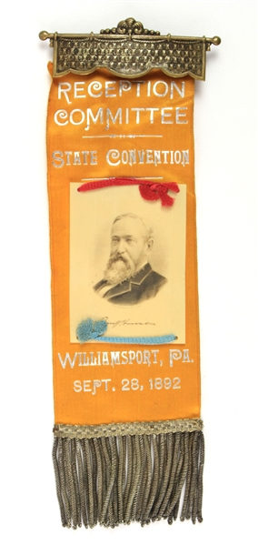 "1892 Benjamin Harrison 23rd President of the United States 8.5"" Pennsylvania State Convention Reception Committee Ribbon"