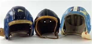 1930s-60s Game Used Football Helmet Collection - Lot of 3 (MEARS LOA)