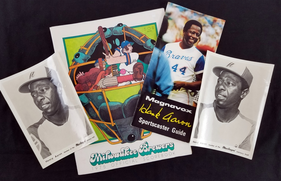 1974-75 Hank Aaron Braves/Brewers Memorabilia - Lot of 4 w/ MacGregor Advisory Staff Photos, Sportscaster Guide & Scorebook