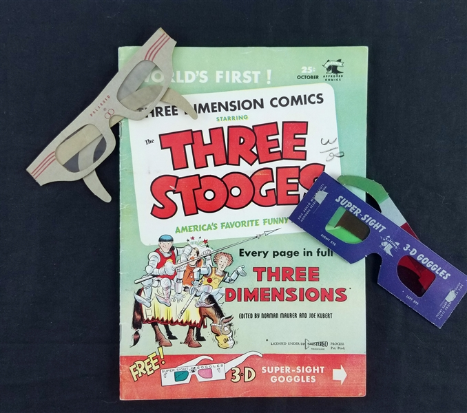 1953 Three Stooges Three Dimension Comics w/ 2 Pairs of 3-D Glasses
