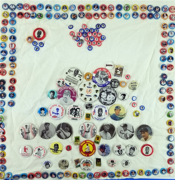 1950s-2000s Baseball Pinback Button Collection - Lot of 300