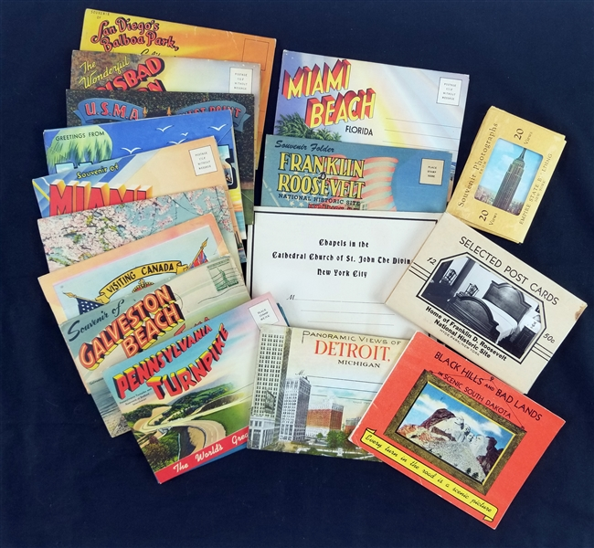 1930s-50s Americana Tourism Postcard Packets - Lot of 17
