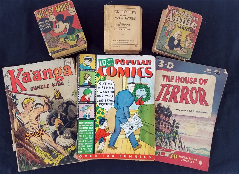 1930s-50s Comic Book & Big Little Book Collection - Lot of 6 w/ Mickey Mouse, Orphan Annie, Buck Rodgers, 3-D House of Terror & More