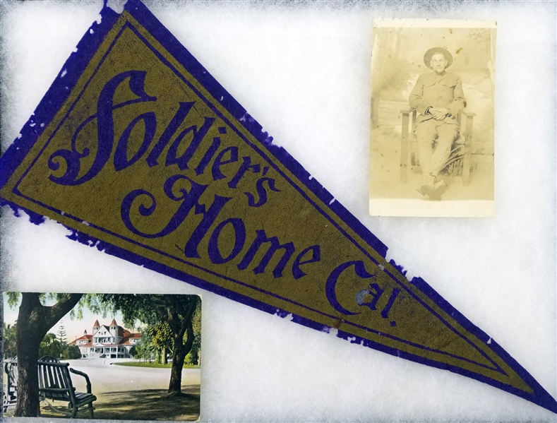1909-17 WW1 Memorabilia Collection - Lot of 3 w/ Photo, Pennant & Postcard
