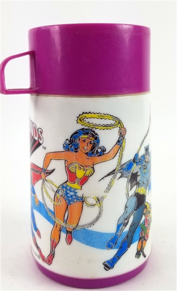 1976 Super Friends Aladdin Thermos w/ Superman, Batman, Wonder Woman & More