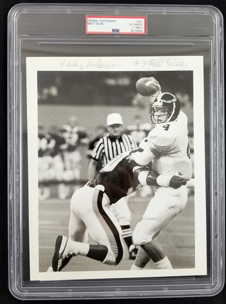 "1987-90 Brett Favre Southern Miss Golden Eagles 8"" x 10"" Original Type I Photograph (PSA Slabbed)"