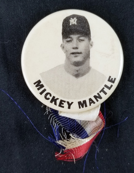 "1950s Mickey Mantle New York Yankees 1.75"" Pinback Button w/ Ribbon"